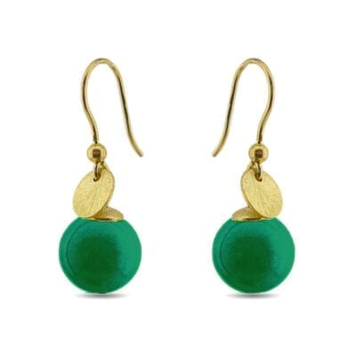 Elect925 - Dots örhängen, grön jade/guld