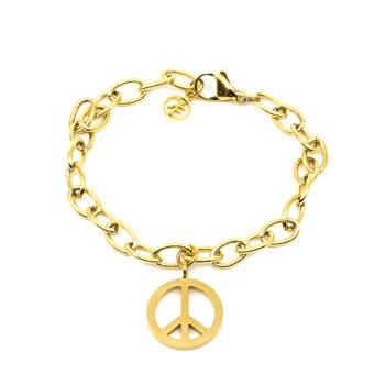 Seven/East – Small Peace Armband, Guld
