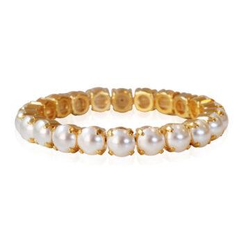 Caroline Svedbom – Gia Stretch armband, Pearl/guld