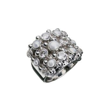 Kumkum – Cookie Zircon Pearl Ring, silver
