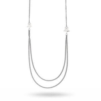 By Jolima – Nova chain långt halsband, silver