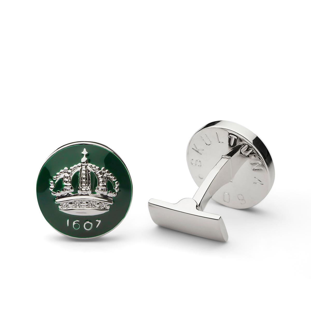 Skultuna – Manschettknappar Skultunakronan, silver/grön