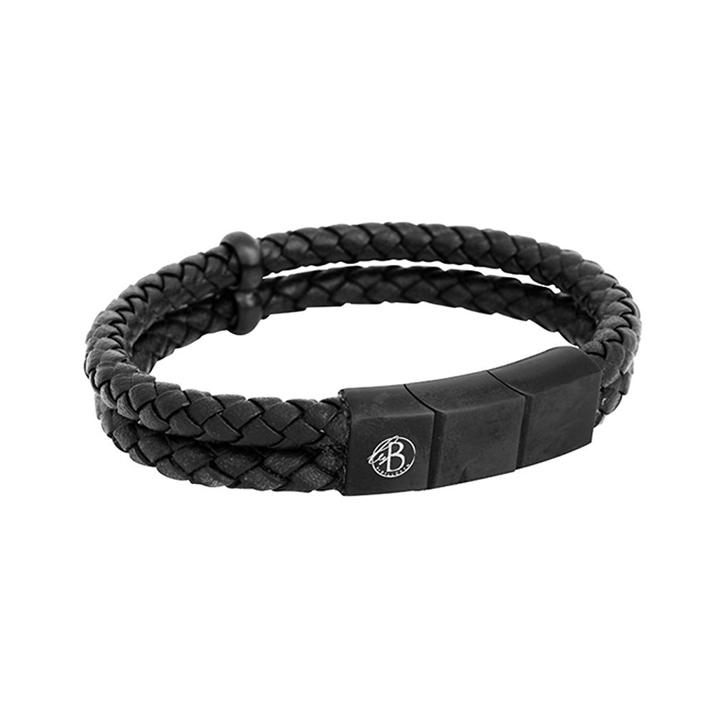 By Billgren –Läderarmband, svart/svart