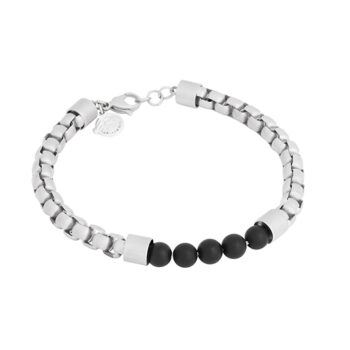 By Billgren –Armband, svart stål/lava