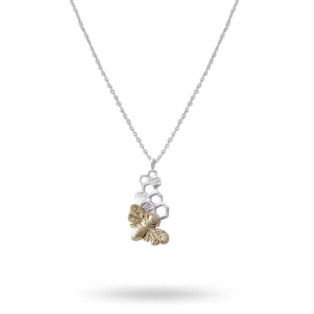 honey-bee-necklace-silver