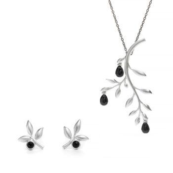 Anna & Deià – Branch Set, silver/onyx