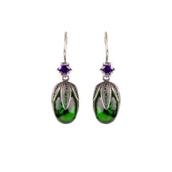 Yvone Christa – Deep Green Crown Örhängen, grön
