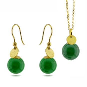 Elect925 - Dots halsband, grön jade/guld