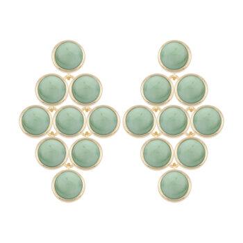 Snö of Sweden – Agatha Stone pendant örhängen, guld/grön
