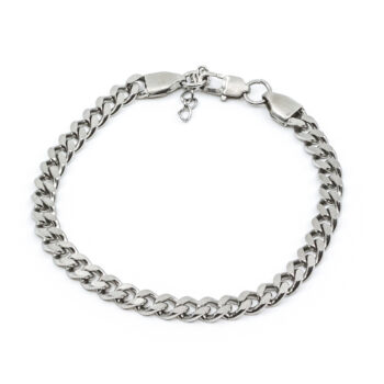 Seven/East – Brushed flat chain armband, silver