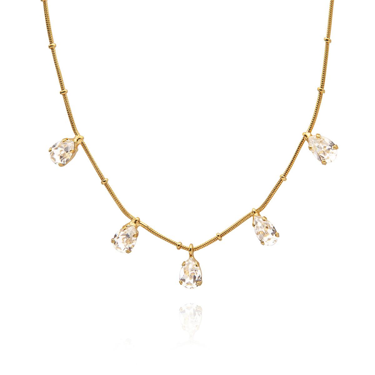 Caroline Svedbom - Estelle halsband, guld/crystal